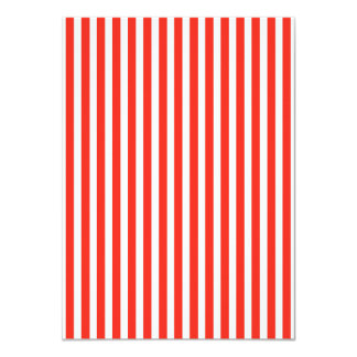 Circus Red and White Cabana Stripes 4.5x6.25 Paper Invitation Card