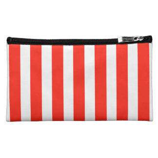 Circus Red and White Cabana Stripes Makeup Bags