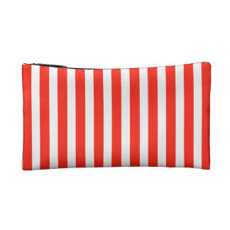 Circus Red and White Cabana Stripes Cosmetics Bags
