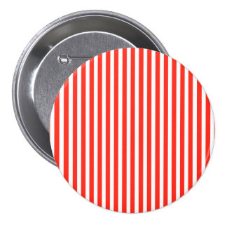 Circus Red and White Cabana Stripes 3 Inch Round Button