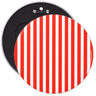 Circus Red and White Cabana Stripes 6 Inch Round Button