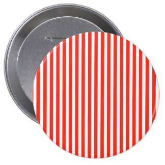 Circus Red and White Cabana Stripes 4 Inch Round Button