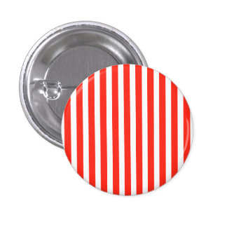 Circus Red and White Cabana Stripes 1 Inch Round Button