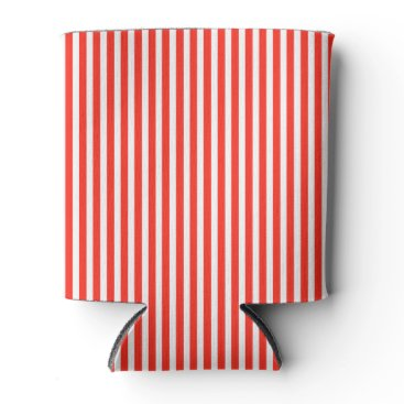 Beach Themed Circus Red and White Cabana Stripes Can Cooler