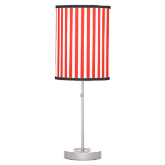 Circus Red and White Cabana Stripes Desk Lamp