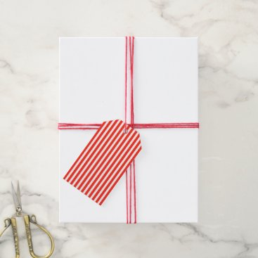 Beach Themed Circus Red and White Cabana Stripes Gift Tags