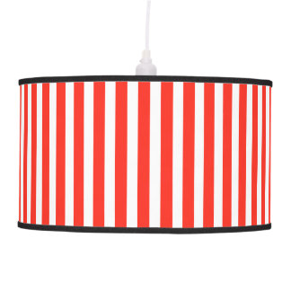 Circus Red and White Cabana Stripes Hanging Lamps