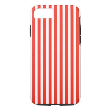 Beach Themed Circus Red and White Cabana Stripes iPhone 7 Case
