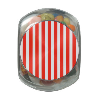 Circus Red and White Cabana Stripes Jelly Belly Candy Jars
