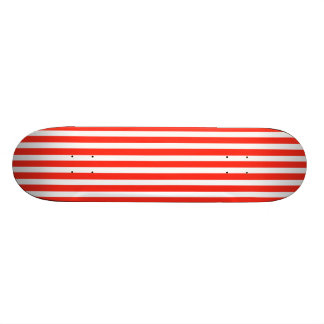 Circus Red and White Cabana Stripes Skateboard Deck