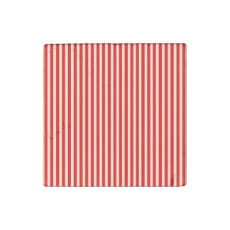 Circus Red and White Cabana Stripes Stone Magnet