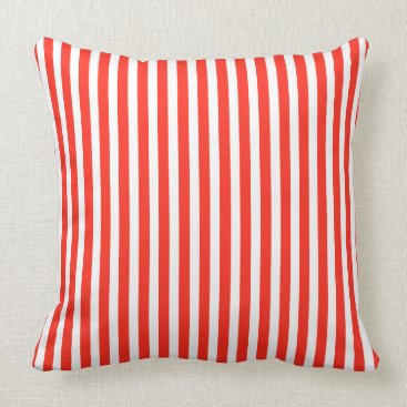 Beach Themed Circus Red and White Cabana Stripes Throw Pillow