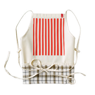 Circus Red and White Cabana Stripes Zazzle HEART Apron