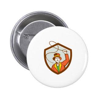 Circus Ring Master Bullwhip Shield Retro Badge