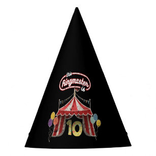 Circus Ringmaster 10th Birthday Kids Party Hat