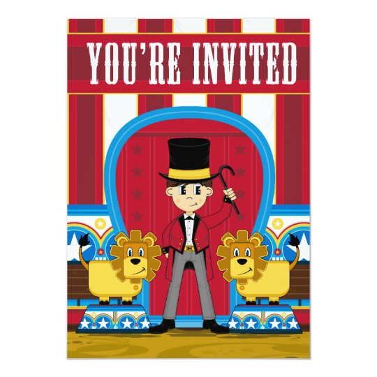 Circus Ringmaster and Lions Invite
