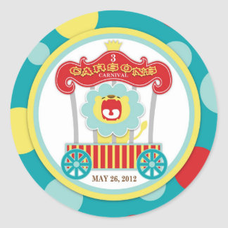 Circus Roaring Lion Birthday Classic Round Sticker