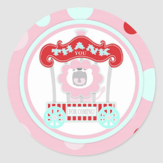 Circus Roaring Lion Birthday Pink Classic Round Sticker