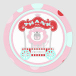 Circus Roaring Lion Birthday Pink Sticker