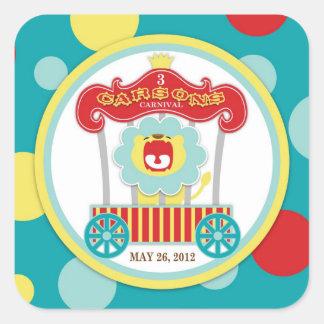 Circus Roaring Lion Birthday Square Sticker