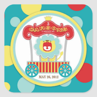 Circus Roaring Lion Birthday Stickers