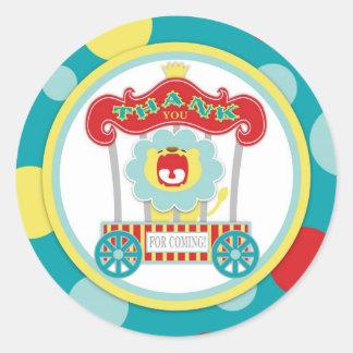 Circus Roaring Lion Blue Classic Round Sticker