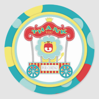 Circus Roaring Lion Blue Round Stickers