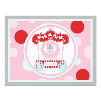 Circus Roaring Lion Thank You Pink Invitation