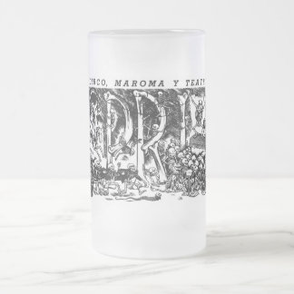 """Circus, Rope, and Theatre"" c. 1951 Mexico Frosted Glass Beer Mug"