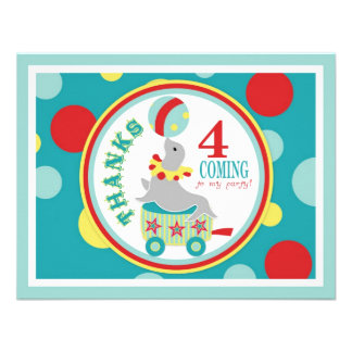 Circus Seal Balancing Beach Ball Thank You Blue Personalized Invites