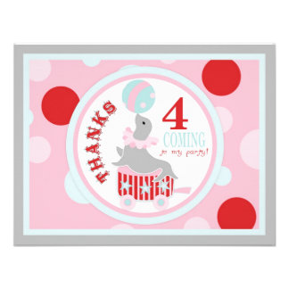 Circus Seal Balancing Beach Ball Thank You Pink Custom Announcements