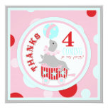 Circus Seal Thank You Pink Custom Invitation