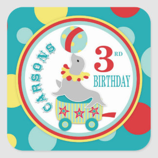 Circus Seal with Ball Birthday Sticker