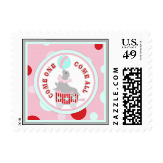 Circus Seal with Ball Pink Postage