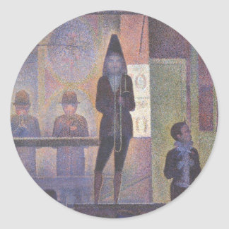 Circus Sideshow by Georges Seurat, Vintage Art Classic Round Sticker