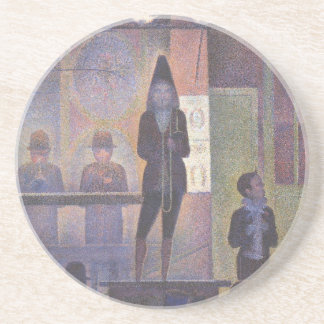 Circus Sideshow by Georges Seurat, Vintage Art Drink Coaster