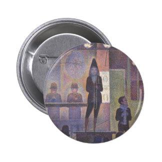 Circus Sideshow by Seurat, Vintage Pointillism Art Pinback Button
