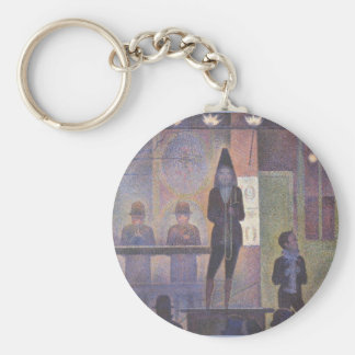 Circus Sideshow by Seurat, Vintage Pointillism Art Key Chains