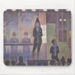 Circus Sideshow by Seurat, Vintage Pointillism Art Mousepad