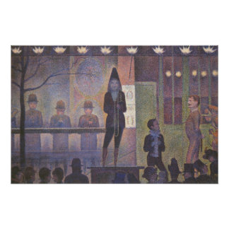 Circus Sideshow by Seurat, Vintage Pointillism Art Poster