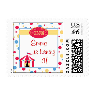 circus stamp birthday party fun cute sweet colors