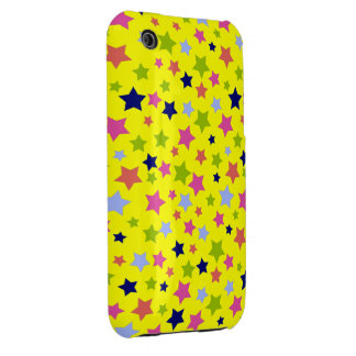 Circus Star Pattern - bright yellow iPhone 3 Case-Mate Cases