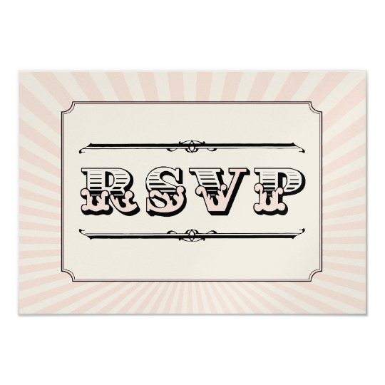 Circus Steampunk RSVP in PInk Card