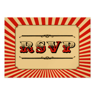 Circus Steampunk RSVP in Red Personalized Invitation