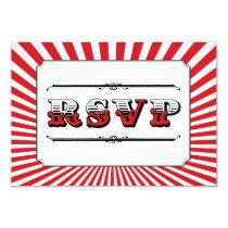 Circus Steampunk RSVP in Red 3.5x5 Paper Invitation Card