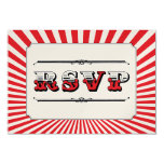 """Circus Steampunk RSVP in Red 3.5"""" X 5"""" Invitation Card"""