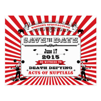Circus Steampunk Wedding Save The Date Red Postcard