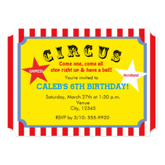 Circus Striped Birthday Party Ticket Invitation