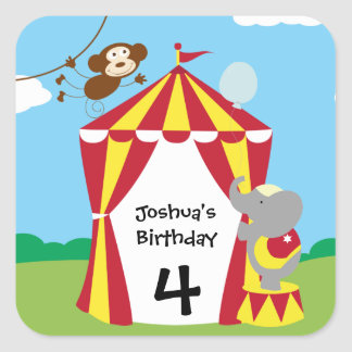 Circus Tent and Animals Birthday Stickers