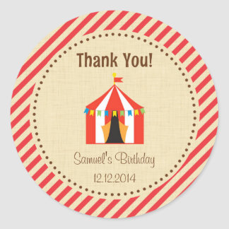 Circus Tent Birthday Sticker Red Stripes